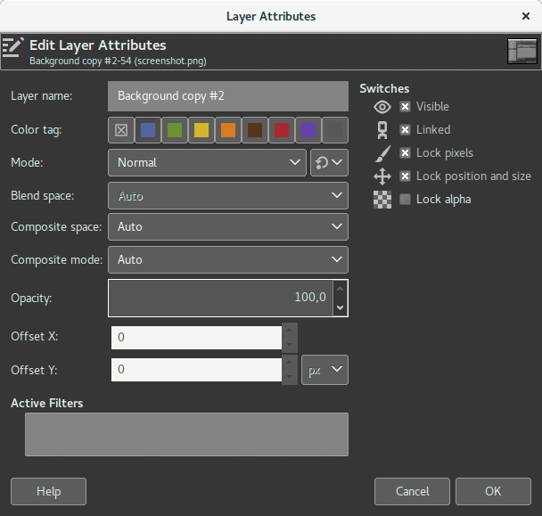 Updated Layer Attributes dialog