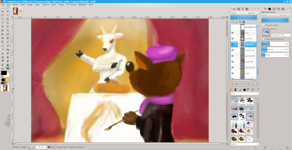 MyPaint Brush tool in action