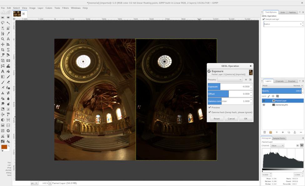 Adjusting exposure of a 32-bit float PFM file