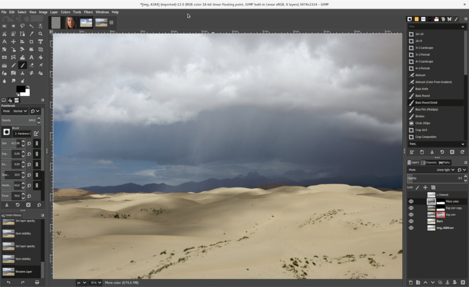 GIMP 2.10 with dark UI theme and symbolic icon theme