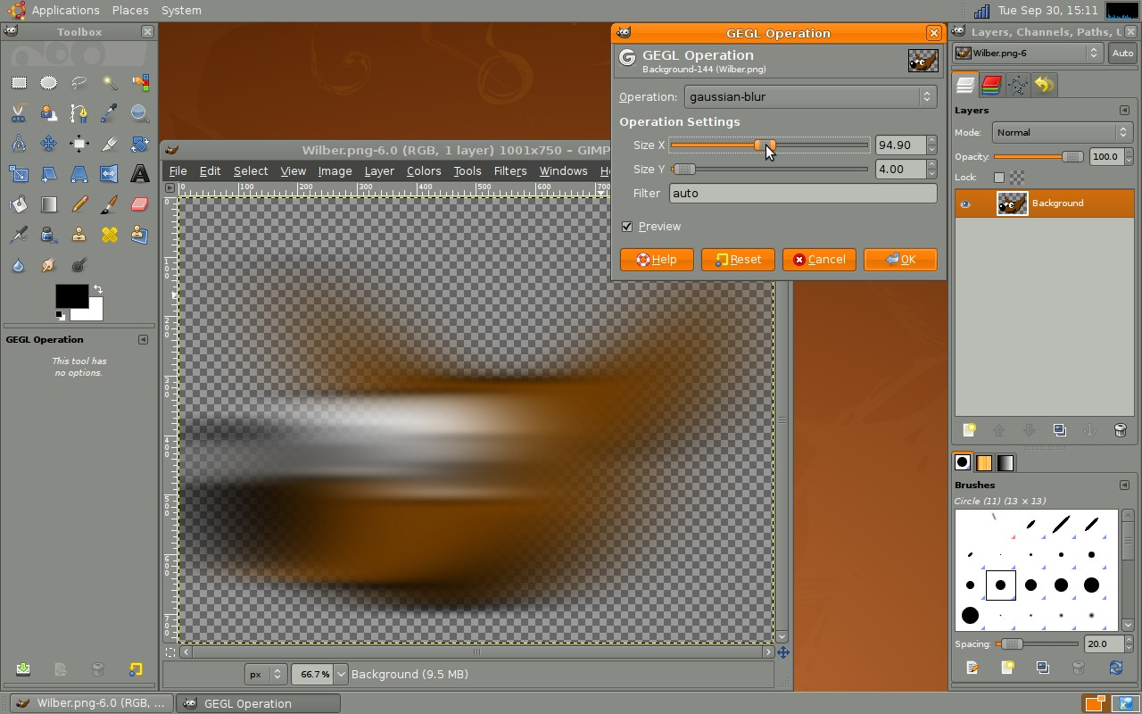 On-canvas Gaussian Blur