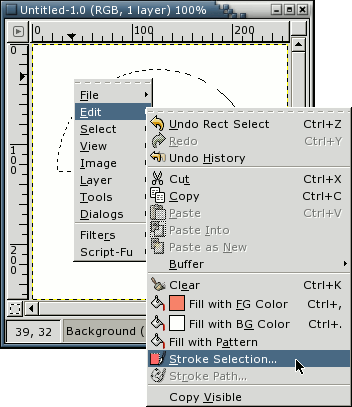 GIMP - Borders On Selections