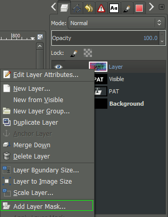 GIMP add layer mask