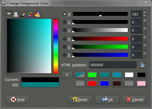 GIMP change foreground color dialog