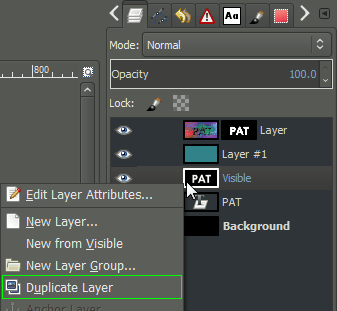 GIMP context duplicate layer