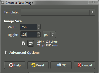 GIMP create new image dialog