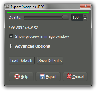 GIMP Export JPEG options dialog