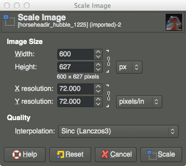 GIMP Scale Image Tutorial Dialog Scaled Values