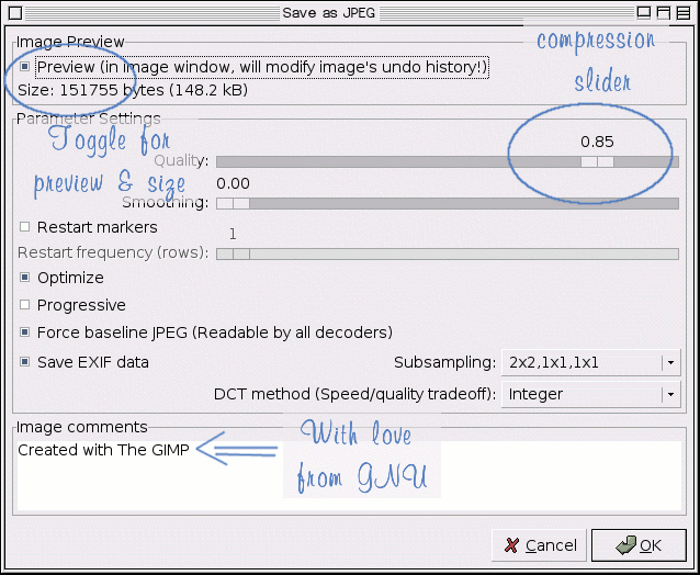 Как сохранить в jpg в gimp